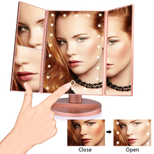 22 LED Makeup Mirror With Light Folding Adjustable Table Desktop Touch Screen 1X/2X/3X/10X Magnifying Vanity Mirror Room Decor