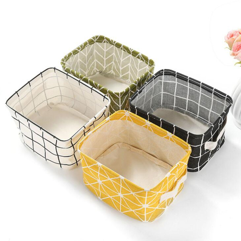 Portable Fabric Storage Basket Snack Food Box Container Sundries Toy Storage Box Cosmetic Book Organizer Desktop Storage Basket in Storage Baskets from Home Garden