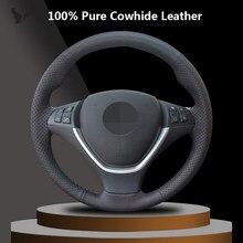 Capa de volante de couro genuíno preto costurado à mão para bmw x6 e71 2008-2014 e70 x5 2008-2013