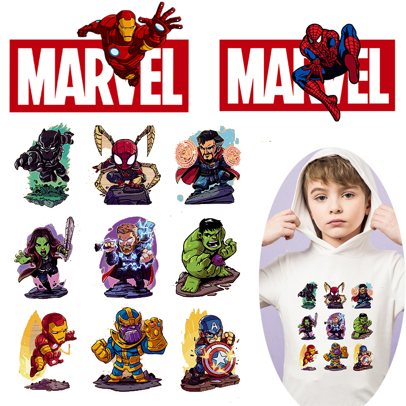 Pulaqi DIY Avengers Patch Iron on Transfers For Clothing Spiderman Marvel Heat Transfer Vinyl For Clothes Anime Thermal Transfer in Patches from Home Garden