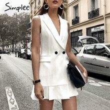Simplee Белый пиджак платье женщин V-образным вырезом с рюшами и линиями тонкое платье без рукавов Офисные женские короткие белые платья vestidos