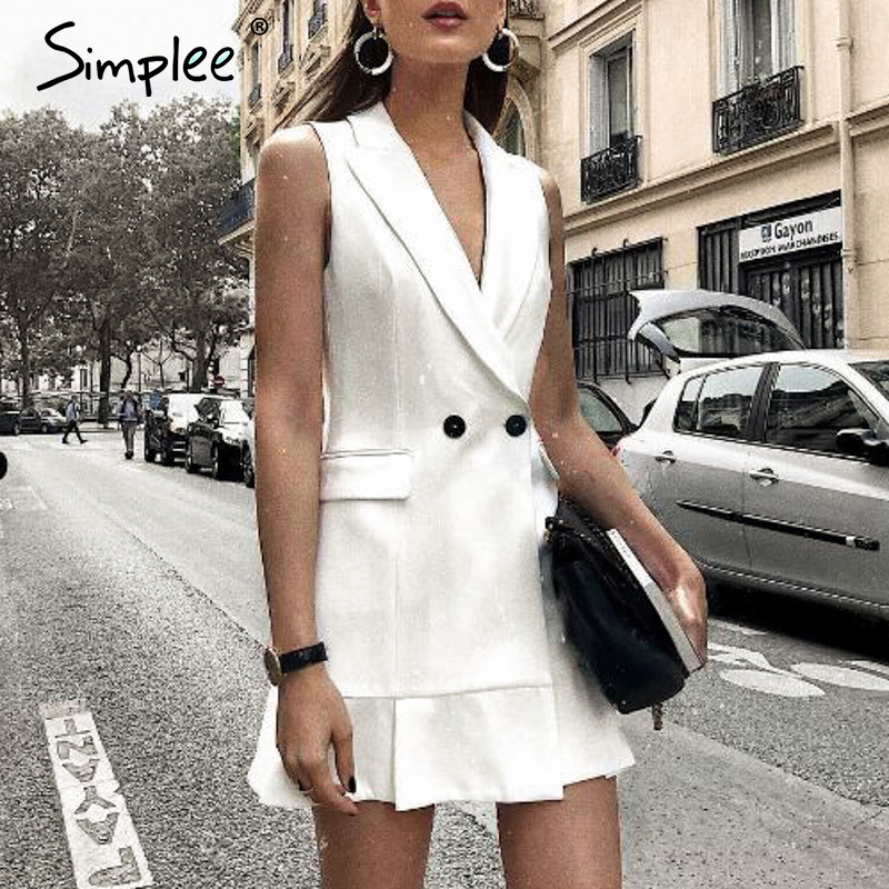 Simplee White Blazer Work Dress Women V Neck Ruffle A Line Slim Sleeveless Party Dress Office Ladies Short White Dress Vestidos