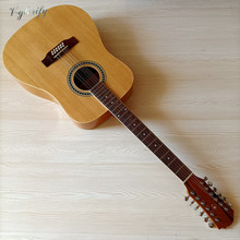 Full size natural color 12 string acoustic guitar 41 inch folk guitar high gloss western guitar