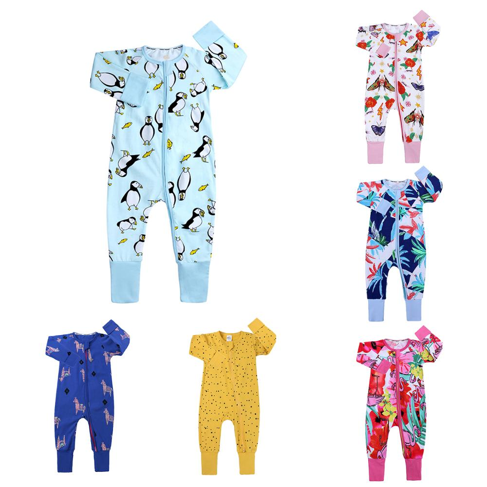 2020 Newborn Baby Spring/Autumn Cotton Clothing Baby Grils Christmas Romper Boys Animal Floral Costumes Pajama Roupa