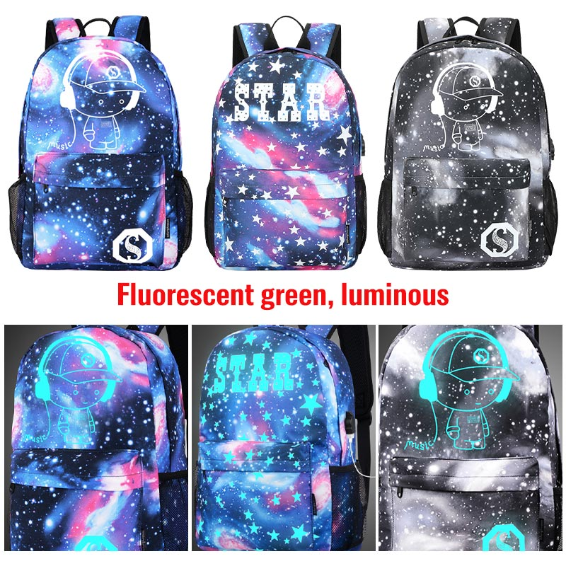 Luminous Student School Bag Anime Laptop Backpack for Boy Girl Daypack with USB Charging Port Anti-theft Lock Camping Travel bag 5