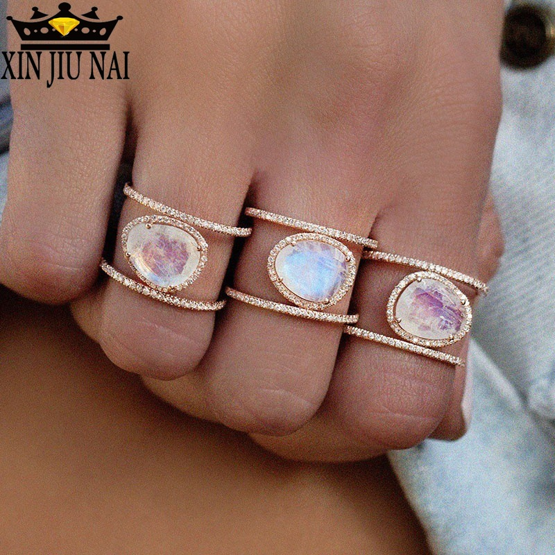 3 Colors 925anillos Silver Vintage Women Wedding Ring & Engagement Ring New Antique Zinc Oval Moonstone Women Opal Ring