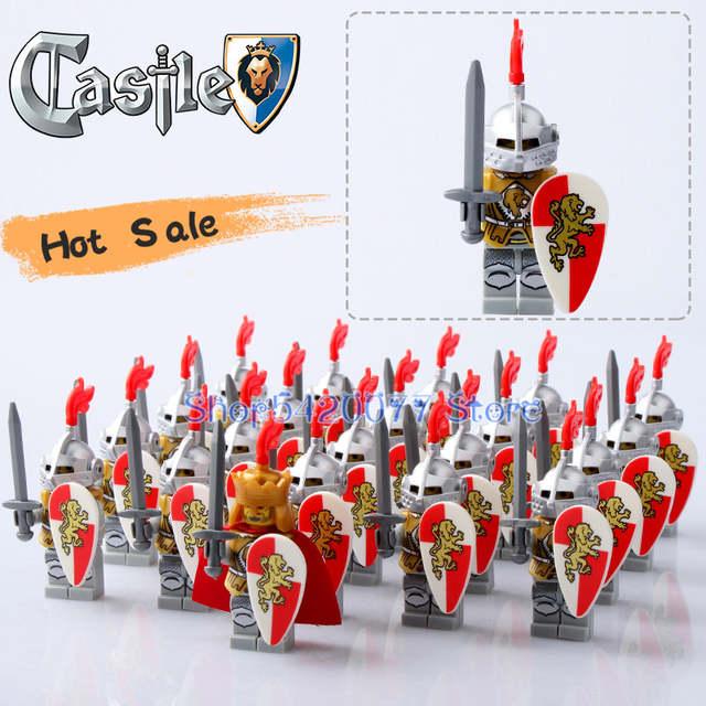 Building Blocks Kids Figures Toys Medieval Castle Kingdoms Knights Shield Sword