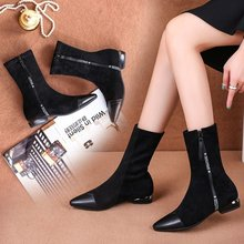 women mid-calf boots chunky low heels  pointed toe casual shoes woman chaussure zapatos mujer wxz168 hot sale beautiful women mid calf velvet boots block heeled blue black pointed toe back zip boots party high heels zapatos mujer