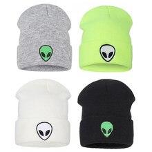 Alien chapeau Bonnet tricoté mode Bonnet Alien Beanie broderie hiver chapeau bonnets femmes Bonne Alien chapeau casquettes manchette-chapeaux bonnets
