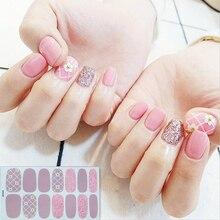 14Tips/Vel Inzoomen Wraps Nagellak Stickers Strips Vlakte Nail Art Decoraties Hart Ontwerpen Glitter Poeder Manicure tips