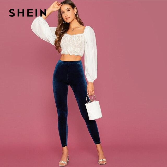 SHEIN Abaya Navy Elastic Waist Velvet Cropped Leggings Women Autumn Winter Stretchy Mid Waist Solid Glamorous Leggings 4