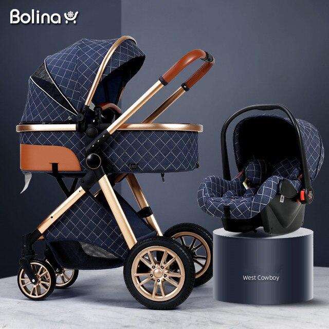 Bolina 3 em 1 carrinho de bebê alta paisagem luz carrinho de bebê recém-nascido choque prova em dois sentidos 2 em 1 criança carro conforto do bebê 2021 6