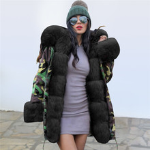 купить Hirigin Camouflage Fashion Winter Jacket Women Outwear Thick Loose Long Parkas Natural Real Fox Fur Collar Coat Outerwear дешево