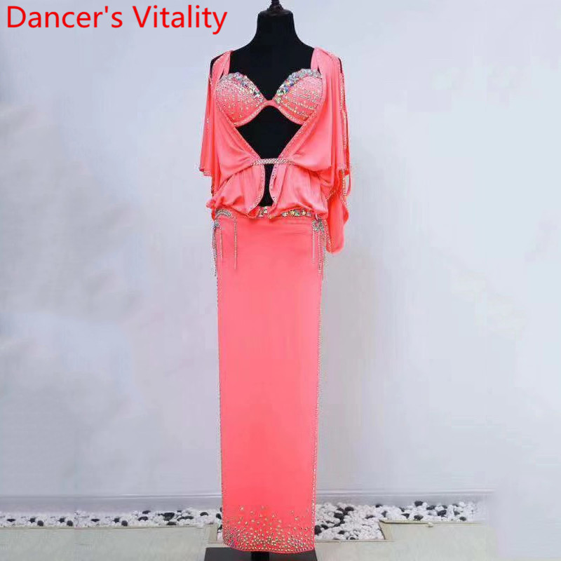 Women Belly Dance Group Competition Suit Slap-up Bra Diamond Robe Belt Set Drum Oriental Indian Dancing Performance Outfits