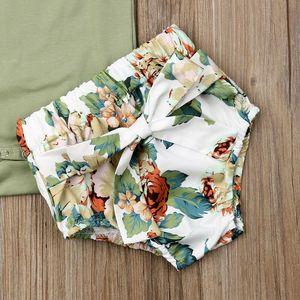 Marke 2020 Neue Jahr Geschenk Kleinkind Kinder Baby Mädchen Infant Kleidung Strampler Tops Blume Drucken Hosen Stirnband Body Outfits 3 pcs Set