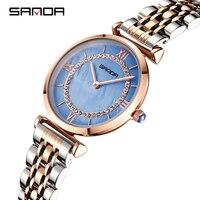 SANDA Simple Stainless Strap Strap Women's Quartz Watch Business Waterproof Clock Wristwatch Female Relogio Feminino Purple 2019