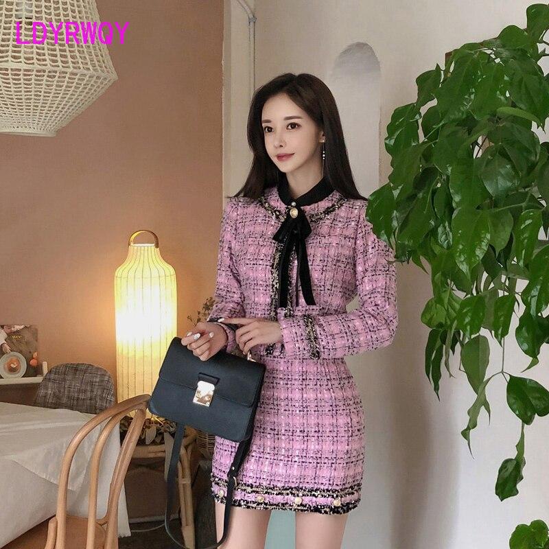 2019 Korean version of the autumn bow short coat + slim skirt Tweed  Knee-Length  Three Quarter  Single Breasted