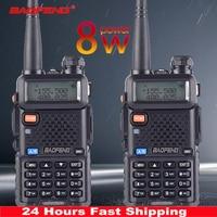 2 uds Baofeng UV-5R 8 W True Alta Potencia 8 vatios potente Walkie Talkie de largo alcance 10km de doble banda Radio bidireccional CB caza portátil