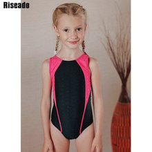 Riseado 2019 Sport One Piece Swimsuit Girls Patchwork Swimwear Competitive Children Bathing Suit New Racer Back Bathers