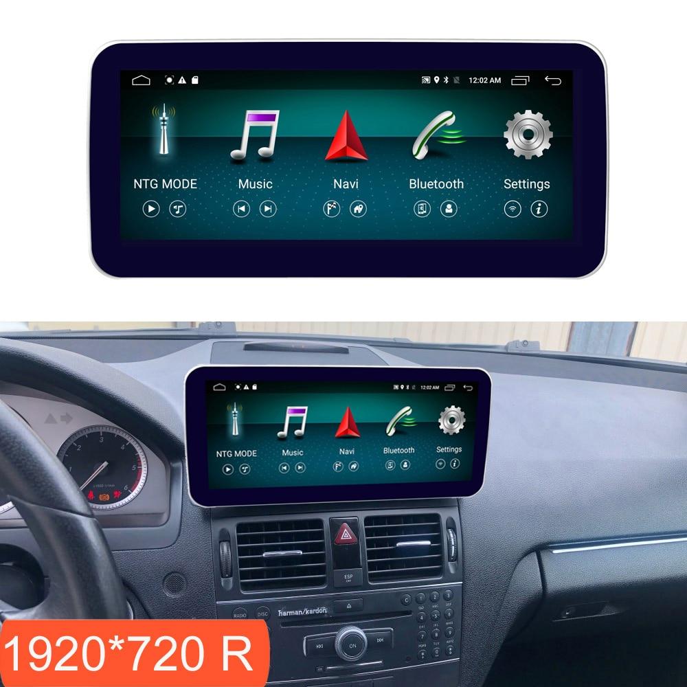 10.25 polegada 4 + 64g android display para mercedes benz c classe w204 2008-2010 tela de rádio do carro gps navegação bluetooth tela de toque
