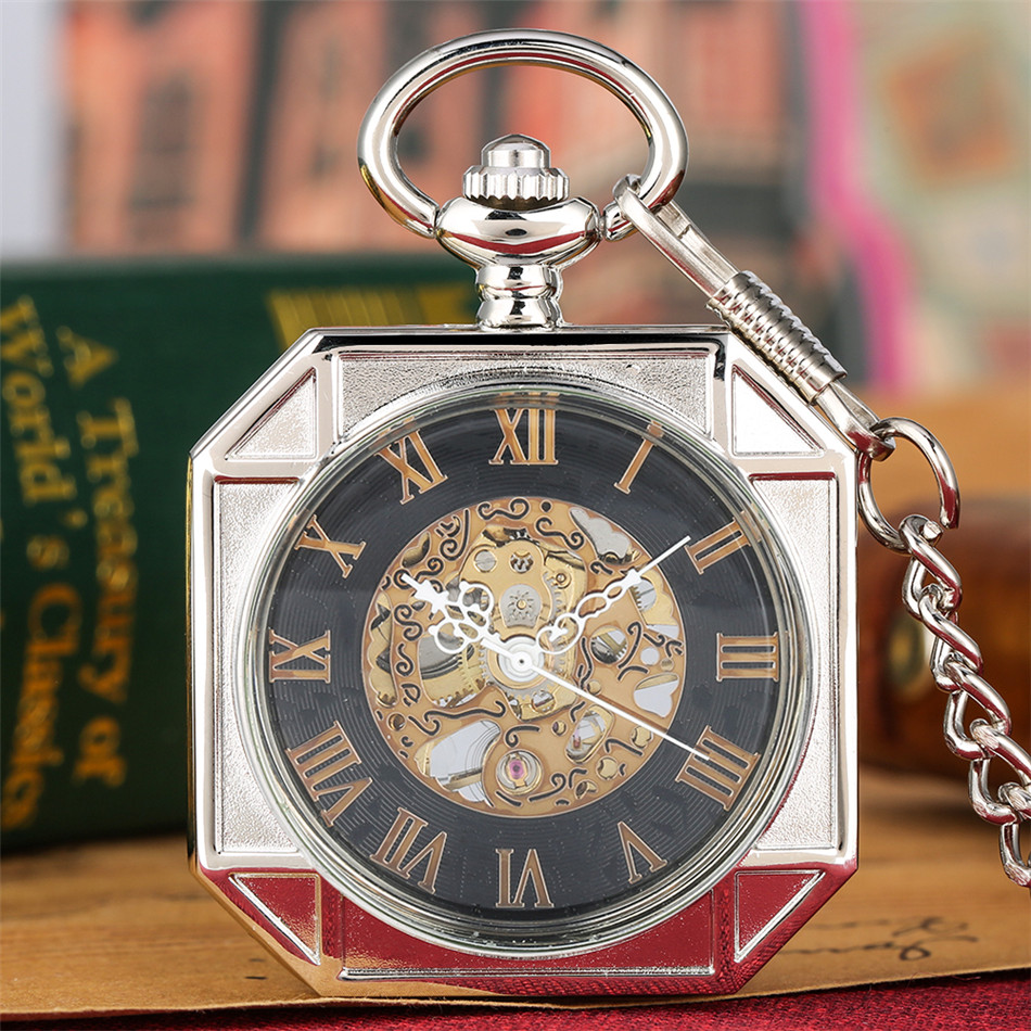 Vintage Octagon Silver/Black/Bronze/Gold Mechanical Pocket Watch Roman Numerals Display Hand Winding Pendant Pocket Clock Men