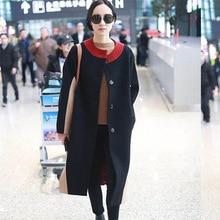 2019 New Black Double-faced Wool Same Coat Loose Medium-length Long Women