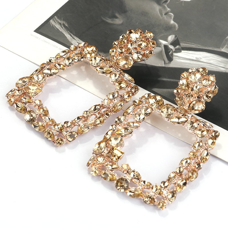 AENSOA Vintage Crystal Big Square Drop Earrings For Women Multicolor Shiny Party Gift Jewelry Trendy Bohemian Dangle Earrings