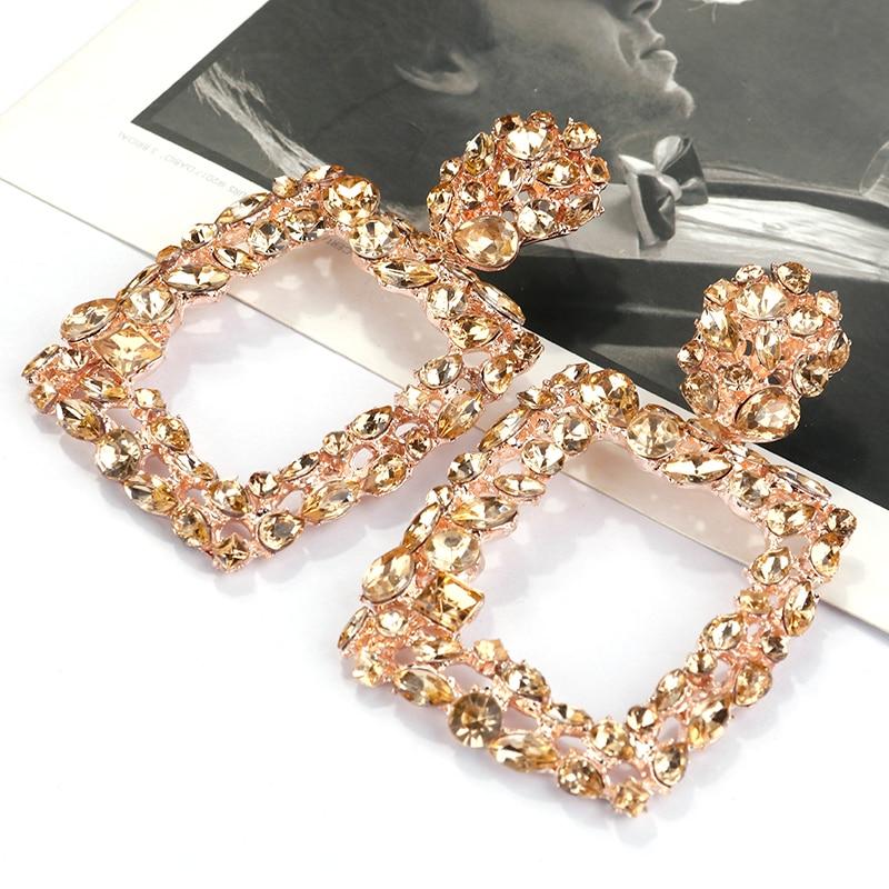 AENSOA Vintage Crystal Big Square Drop Earrings For Women Multicolor Shiny Party Gift Jewelry Trendy Bohemian Dangle Earrings
