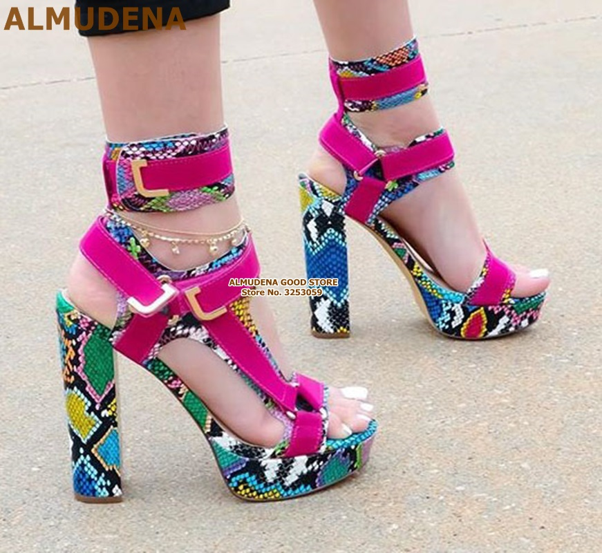 ALMUDENA Women <font><b>Sexy</b></font> Multi-Snakeskin Chunky <font><b>Heel</b></font> <font><b>Sandals</b></font> <font><b>Platform</b></font> Buckle Strap Dress Shoes Fuchsia White Python Patchwork <font><b>Sandals</b></font> image