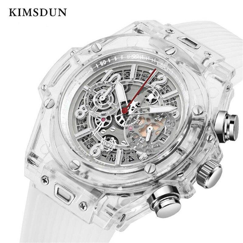 KIMSDUN Men's Fashion Trend Luxury Sports Quartz Chronograph Watch Transparent Watch Military Classic Silicone Relogio Masculino