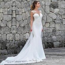 Vestidos de novia Bohemia con cola de sirena y apliques de encaje, vestido de novia de cola, playa, cuello redondo