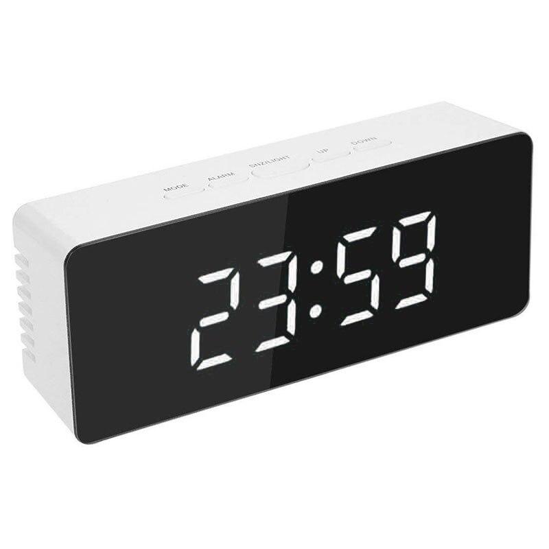 Bedside LED Mirror Alarm Clock Night Light Time-temperature Switch Digital Displayer Backlit Table Desk Wake Up Snoring Clocks