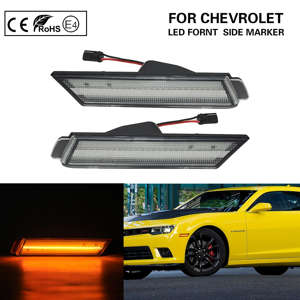 GTINTHEBOX 2PCS 3D Smoked Lens 27-SMD Red Full LED Rear Side Marker Lights Lamps Replacement Kit For 2010 2011 2012 2013 2014 2015 Chevrolet Chevy Camaro