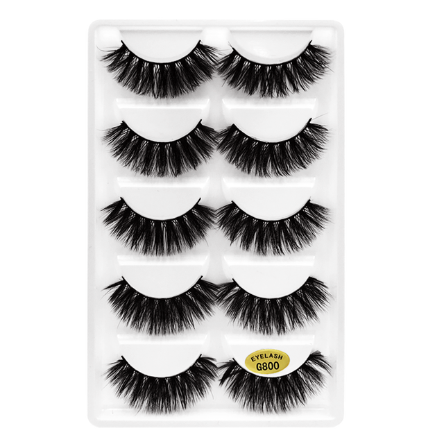 SHIDISHANGPIN 5 Pairs Natural False Eyelashes Fake Lashes Long Hair Makeup 3D Mink Eyelash Extension Mink Eyelashes Beauty 5