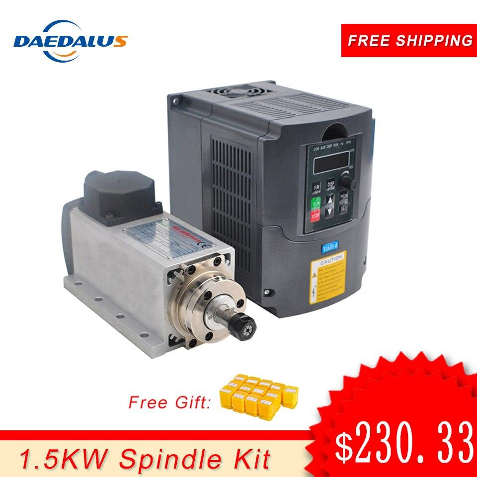 Eixo 1.5KW 110V 220V Conversor Inversor VFD Inversor Motor Spindle CNC Router 1.5KW ER11 recolher Para Milling Gravura ferramentas