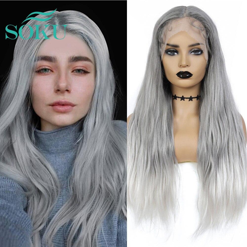 Sentetik dantel ön peruk gri renk doğal dalgalı peruk SOKU uzun orta kısmı moda saç ısıya dayanıklı iplik siyah kadınlar için