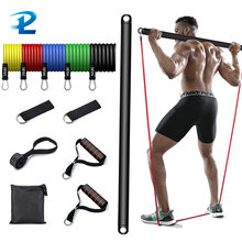 Resistance Band With Strength Training Bar Resistance Gym Equipment Exercise Band Body Workout Fitness