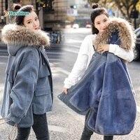 Fashion Parka Hooded Warm Denim New Style Corduroy Female Korean Loose Cotton Jacket Students Winter Women Thin Coat Outerwear