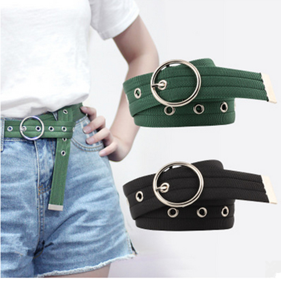 Long Hollow Out Tail Hole Round Buckle Pin Belt Webbing Canvas Waistband Adjustable Harajuku Women Dress Jeans Decor Belts