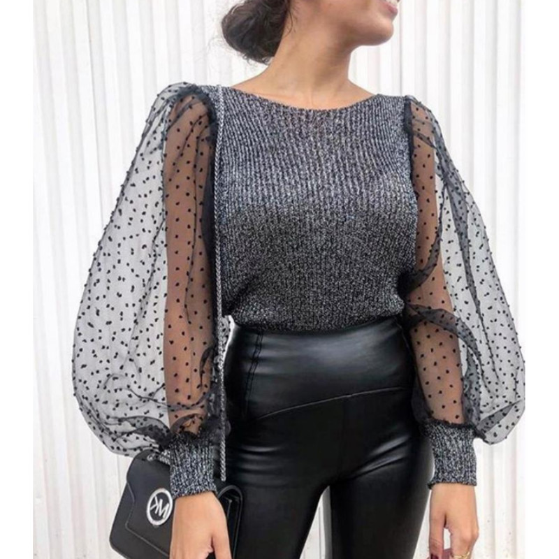 Elegant Knitted Patchwork Tops Blouse Mesh Puff Sleeve O-neck Streetwear 2019 New Fashion