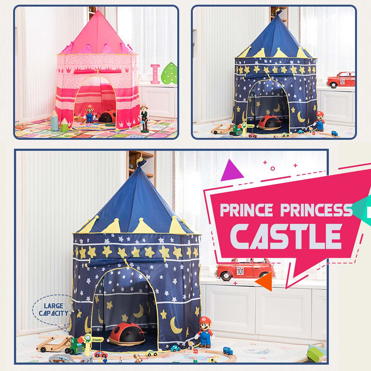 Portable Princess Prince Castle 105x135cm Kid Tent House Present Hang Flag Children Teepee Tent Play Tent Birthday Christma Gift