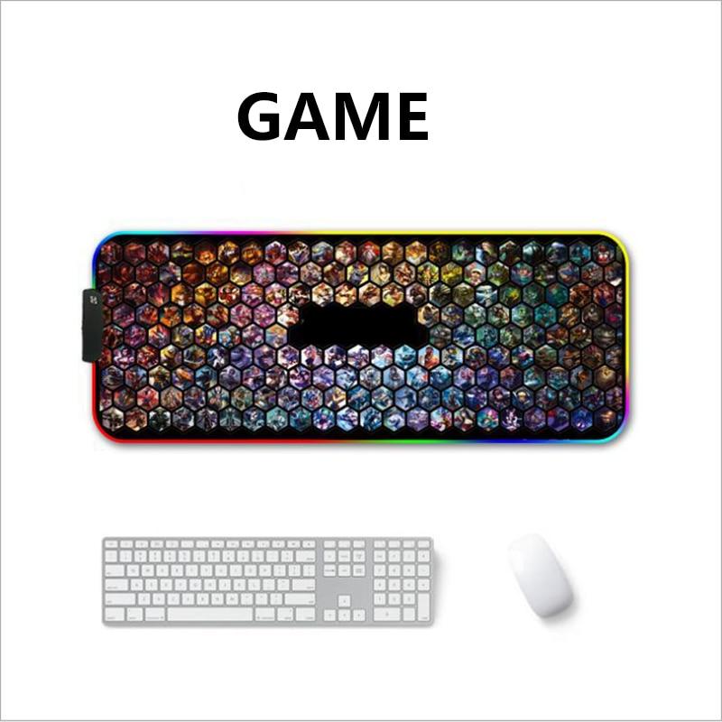 LED RGB USB Mouse Pad Gaming Mice Map Large Big Lighting Backlit Rainbow Gamer XL Mousepad 900x400 Surface Keyboard DeskMat Maus