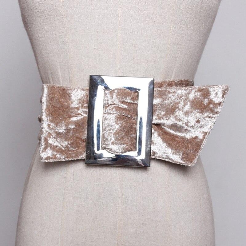 2020 New Fashion Design Spring Belts For Women Solid Black Velvet Wide Belt Metal Square Buckle Trendy Waistband Female ZK424