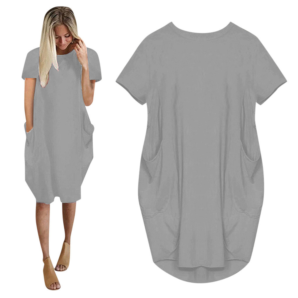 Women Casual Loose Dress with Pocket Ladies Fashion O Neck Long Tops Female T Shirt Dress Streetwear Plus Size 5XL vestidos