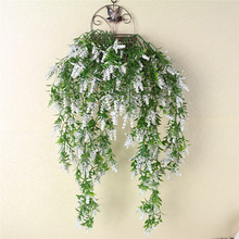 Real Touch Artificial Wall Hanging Plant Pine lavender Home Decor Balcony Decorattion Flower Basket Accessories