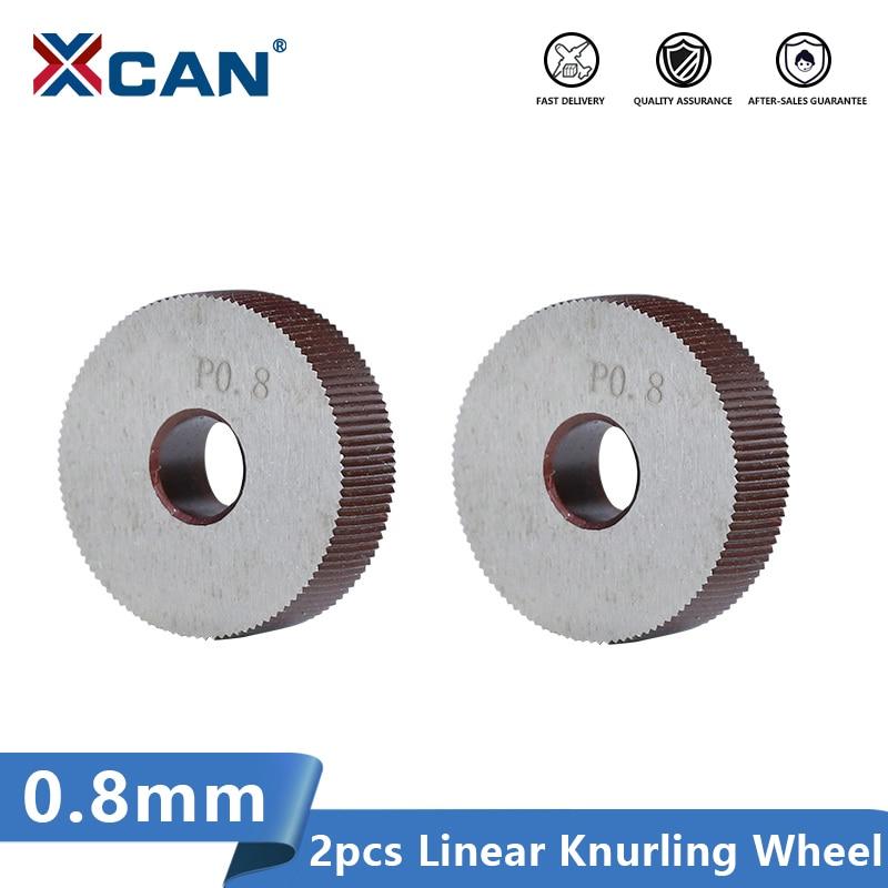 XCAN Linear Knurling Wheel 2pcs 0.8mm Set Diameter 28mm for Metal Lathe Wheel Lathe Knurling Tools
