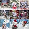 Бриллиантовый рисунок Рождество подарок, вышивка крестиком, бриллиантовая вышивка, медведь, полный квадратный набор для алмазной мозаики, ...