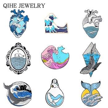 Wave Pins Ocean Sea Wave Brooches Organ Heart Light bulb Whale Sun Creative Badges Blue Wave enamel pin collection шапка noryalli 47404 sea wave
