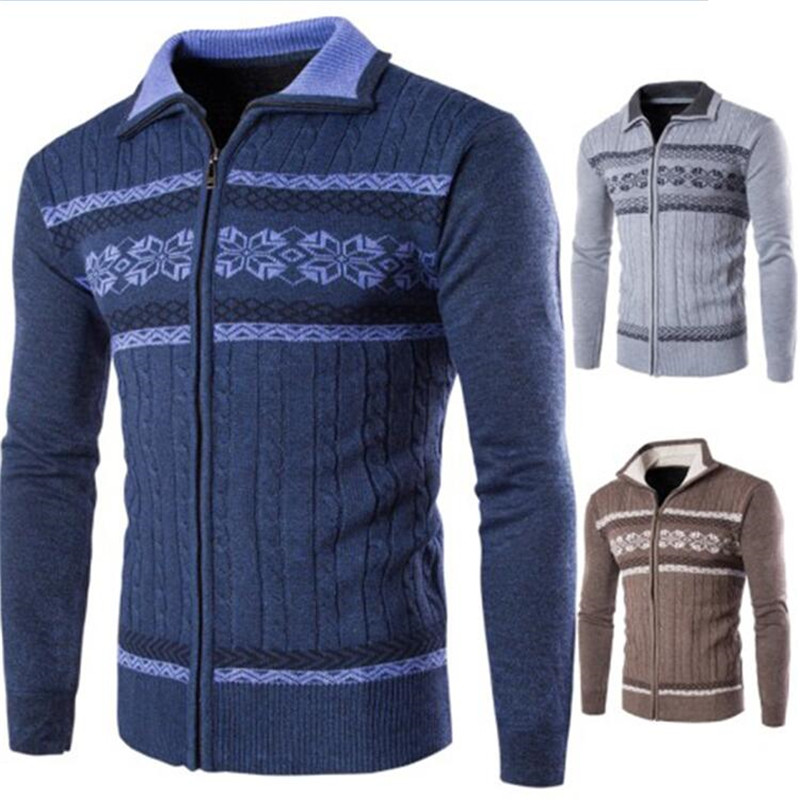 High Quality Men's Cardigan Warm Sweater, Fashion Print Zipper Youth Slim Long-sleeved Sweater Coat