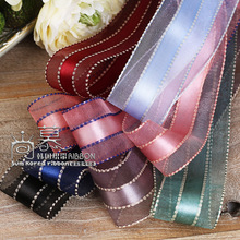 100yards 10 16 25 40mm stitched satin stripe organza sheer ribbon for girl hair bow diy accessories bouquet flower packing